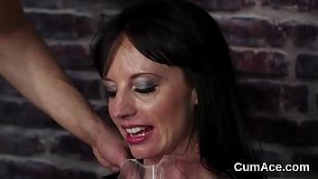 Slutty sex kitten gets cum shot on her face swallowing all the jizz
