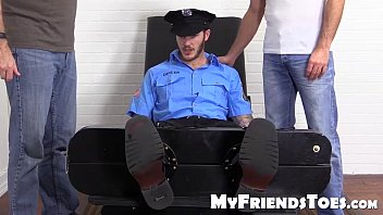 Gay tickling fetish Sexy officer christian wilde tickled by his two best friends