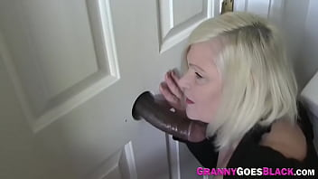 Granny Giving Black Dong Head At Gloryhole