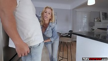 Blonde MILF stepmom wants a stepsons cum in her mouth