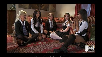 Five sexy young lesbians in schoolgirl outfits start a big orgy