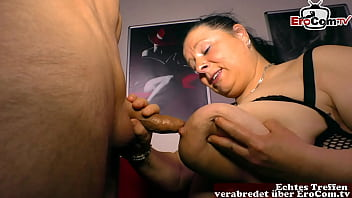 Huge natural tits mother seduces man with her big breasts