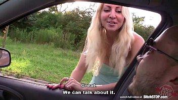Bitch STOP - Blonde hooker picked up on Czech street 13 min