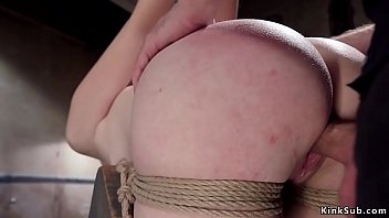 Hung for ankles redhead gets whipped