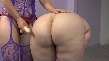 Russian chubby girls Lesbian with a strap-on undresses and fucked a fat girlfriend with big booty.