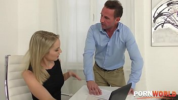Tiffany Tatum and Rose deepthroat cock sucking and fucking at the office
