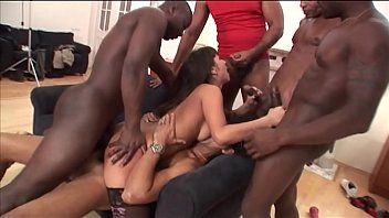 Interracial mini gangbang of brunette slut taking 5 black cocks deep dp