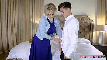 Dirty big boobs blonde mature fucks a poor stepson