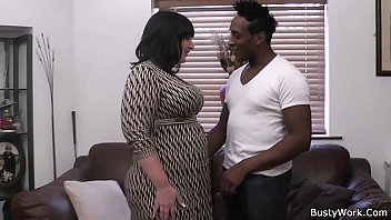 Black dude pleases busty brunette woman