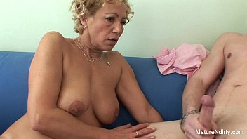 Cum on grannies tits - Blonde granny gets cum on her tits