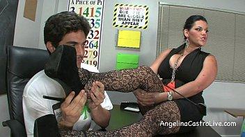 Busty Angelina Castro Threeway FootFetish BJ in Class!