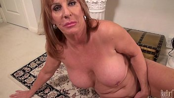 Big titted Mature mom on the rug in dress