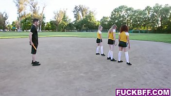 Coach gets lucky with 3 college teens after the workout
