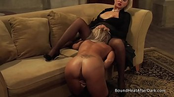 Chained orgasm blonde - Gorgeous lesbian slave on her knees pleasuring dominant madame