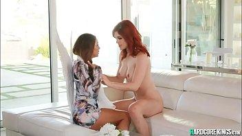 Lesbian angel eats pussy to redhead