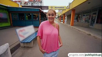 Busty and gorgeous Paris gets paid for public nudity and sex in public thumbnail