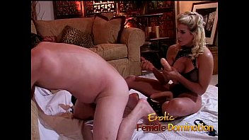 Dirty talking blonde mistress pegs her obedient slave with a strap-on-6