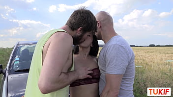 Arab French MILF Nelie Dor fucks two guys in the middle of the fields 10 min