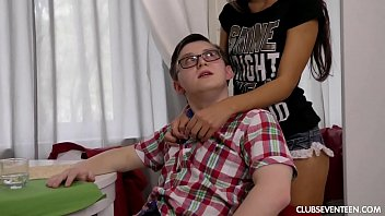 Pigtailed skinny teen fucks a complete nerd 7 min