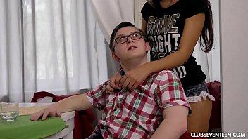 Pigtailed skinny teen fucks a complete nerd