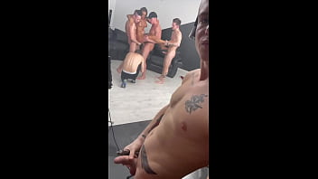 I lie down, smoke and watch my girlfriend get fucked very hard by 2 dicks in the ass at once and in the mouth 6 min