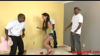 Cute teen bitch gets her tight ass railed by black men