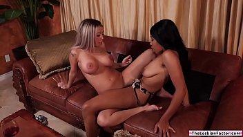 Black lesbian facesitting her busty bff