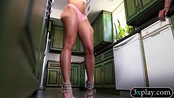 Attractive woman gives head and pounded in the kitchen