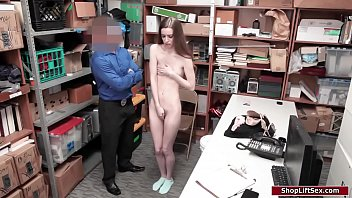 Skinny babe fucked by security officer