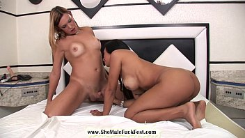 Stud and sexy shemale share a hot brunette Latina babe