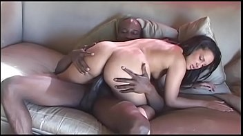 Brunette honey can hardly fit huge black stud's tool in her mouth