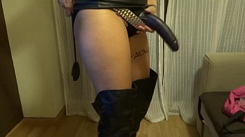 dominatrix mistress in latex playing with strapon fetish femdom preview image
