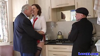 Stockinged british milf fucked by senior guys