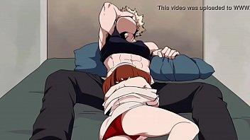 uraraka gives bakugou a blowjob