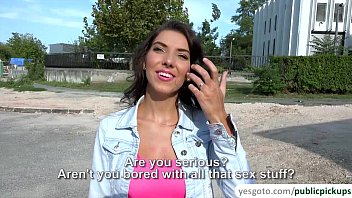 Super hot brunette babe Bessi gets paid to fuck in the public 7 min