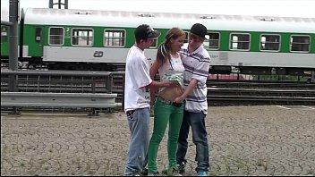 Alexis Crystal AKA Anouk PUBLIC gangbang group sex at a train station thumbnail