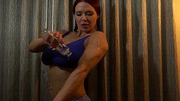 Bodybuilder With Huge Fake Tits Oils Up