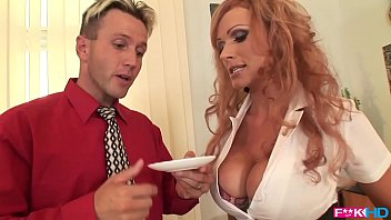 Busty redhead Sharon Pink is a dream secretary that loves titty fucking thumbnail