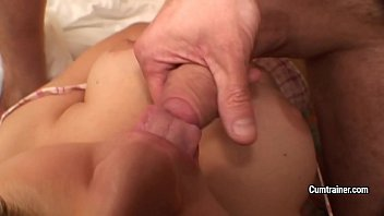 Cute amateur Britney Swallows gets her big natural tits covered with semen after hot ATM anal action