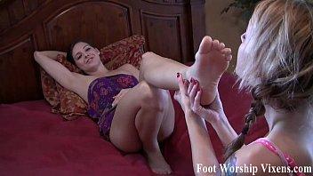 Sadie makes Bella worship her sexy feet 5 min