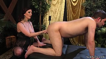 Anal hair male - Busty mistress anal fingers male slave