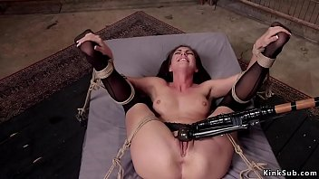 Bondage standing stocks Slave in stockings riding big dick