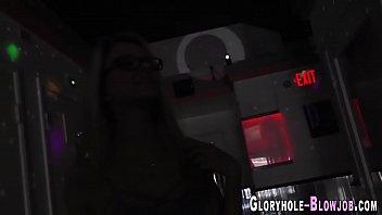 Specs teen at gloryhole interracially fucks