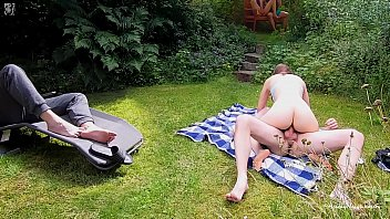 Public Park Wife Sharing - Cuckold Fun with Masturbating Voyeurs