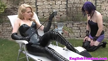 Sissyfied submissives caned outdoors