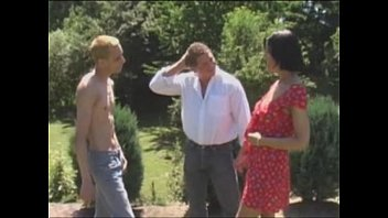 Father And Wife Serviced By Son In Garden