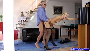 Teen cutie pussyfucked by lucky old man