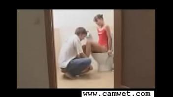 Hot teen couple fucking at bathroom...