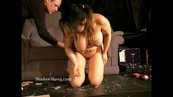 Asian bdsm gameshow of busty slavegirl Tigerr Juggs drawing hot wax and spanking