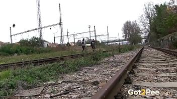 Naughty Girls Piss Near The Railway 2 min